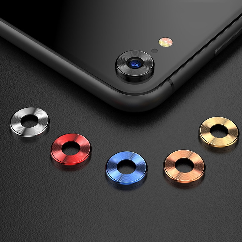 Lente de Metal de lujo para iphone XR, anillo de protección para cámara, círculo Protector + película lateral transparente para teléfono móvil/Protector de película para lente
