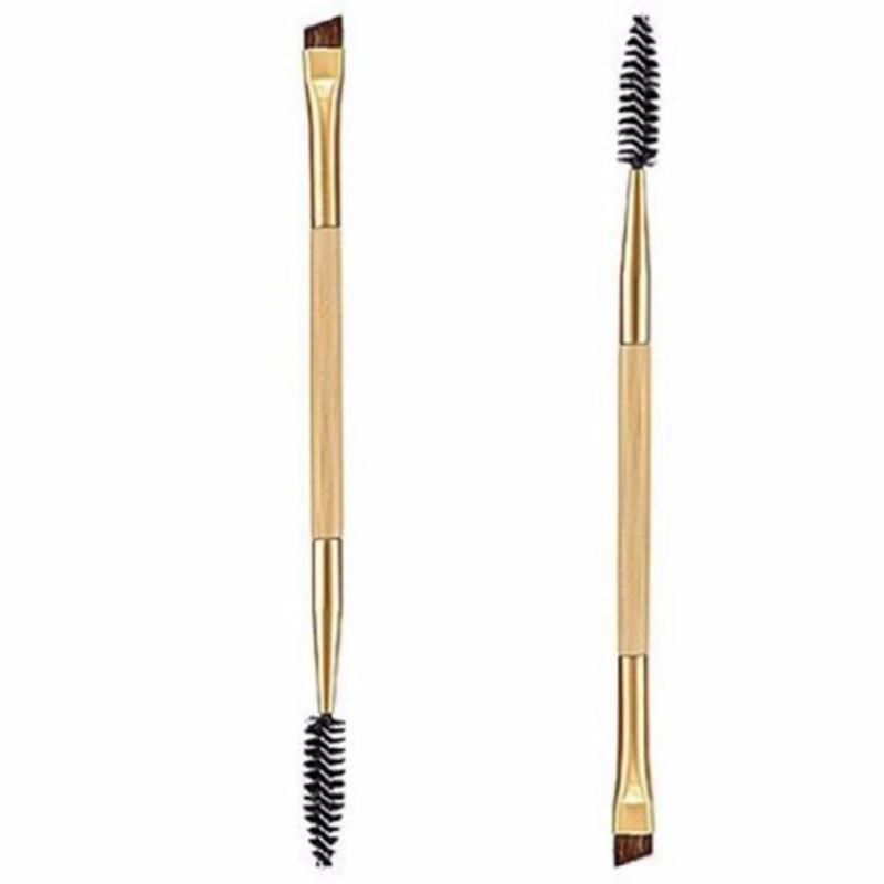 Brocha de cejas de lujo dorado de doble extremo angulado de bambú herramientas de maquillaje para maquillaje profesional cepillo de cejas Pro