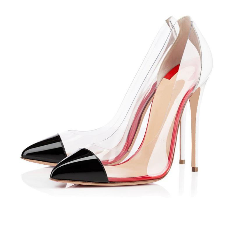 Women's Pumps Thin Heels Pointed Toe Party Shoes Woman Mixed Color Sexy Transparent Pumps High Heels Lady Shoe High Heels Sandal