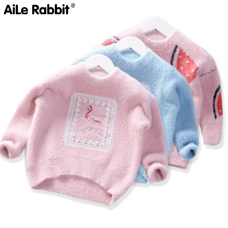 2019 otoño nuevos niños de invierno suéteres de terciopelo niñas suéter de dibujos animados cálido sandía helado de flamenco niños Cltothing