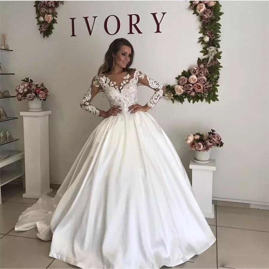 الأميرة شير الدانتيل كم طويل فستان الزفاف الخامس الرقبة الساتان الكرة ثوب طويل قطار مخصص فستان زفاف 2021