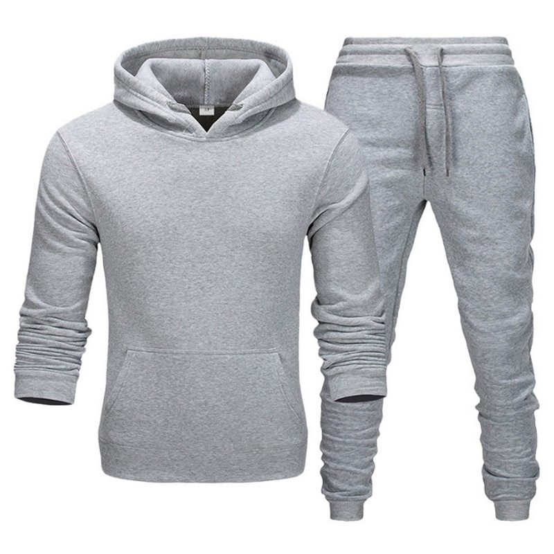 2021 new Fashion Tracksuit Men's Running Shoes Sportswear Two Pieces Thick Wool Cotton Hoodie + Pants Male Sports Suit
