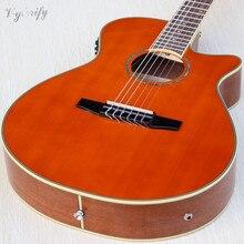 Orange Dunne Lichaam Flamenco Klassieke Gitaar 39 Inch 6 String Hoogglans Afwerking Cutaway Ontwerp Guitarra Met Eq Tuner Functie