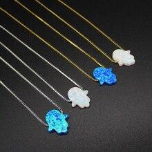 Opal Hamsa Choker Necklace Fatima Hand Pendant Necklace Natural Opal Stone Israel Jewish Jewelry