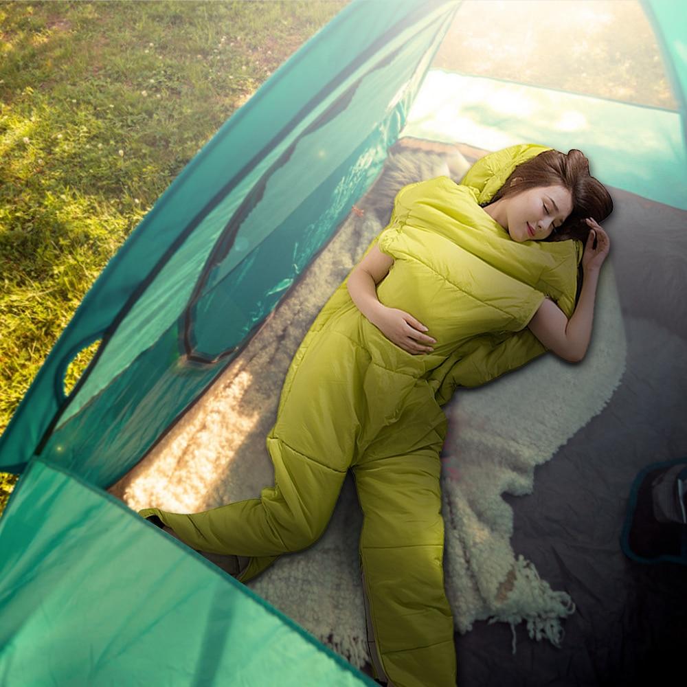 Saco de dormir humanoide para acampar al aire libre, para acampada, mochila de viaje, senderismo, saco de dormir con agujeros con cremallera para brazos