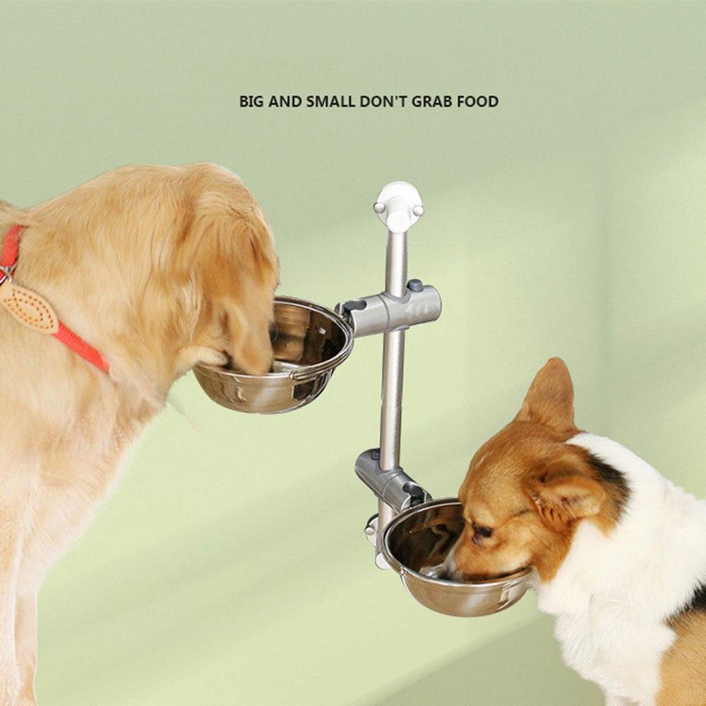 Animal de Estimação Levanta a Bacia Pendura o Suporte de Levantamento Anti-asfixia a Bacia do Cão Alimentador de Aço Dobro Inoxidável Que