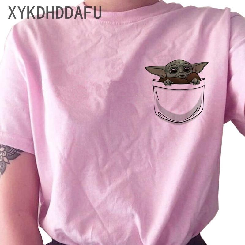 Детская футболка Yoda Mandalorian, женская футболка в стиле Харадзюку «Звездные войны», одежда, футболка с графическим принтом, футболки, женские З...