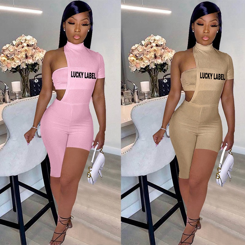 2021 Summer Women 2pcs Rompers Lucky Lable Letter Embroidery Hollow Out Bodysuit One Shoulder Irregu