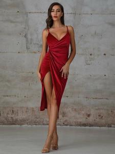 Double Crazy Velvet Wrap Cami Dress New split sexy suspender dress evening dress