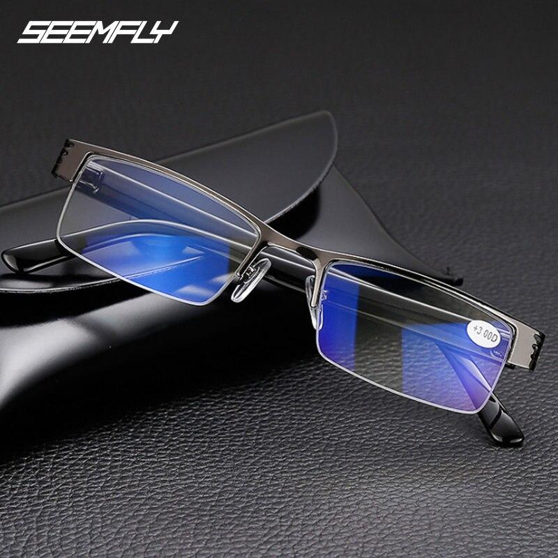 Seemfly Anti Blue Rays resina gafas de lectura hombres mujeres Metal medio marco alta calidad hipermetropía gafas Anti-fatiga gafas