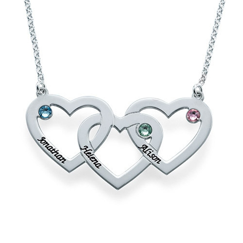 AIYANISHI 925 Silver Personalized 3 Birthstones Necklaces for Women Custom Name Heart Pendant Family Mother Gifts