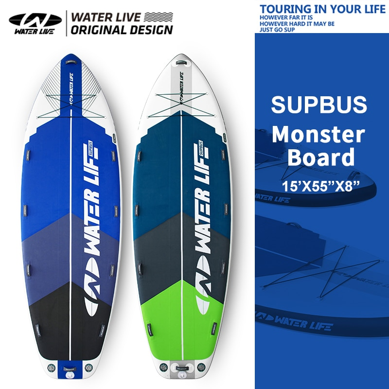 WATERLIVE Monster Board 15' Inflatable Surfboard Sup Multiplayer Team Surfboard 32Kg Super Large Area Water Leisure Sports