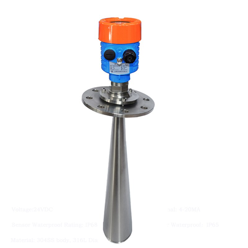 Sensor de nivel de agua Radar inteligente GRD983 tipo brida universal con salida de 4-20 mA para silo de cemento