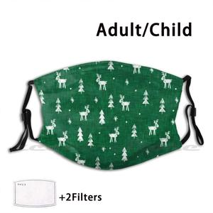 Christmas-Reindeer & Christmas Trees ( Green ) Mask Cloth Washable DIY Filter Pm2.5 Adult Kids Holiday Christmas Reindeer