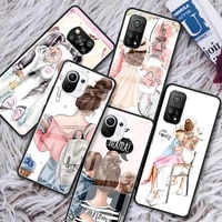lady girl boss glass phone case for xiaomi redmi note 9s 8 9 8t 7 9c capa for mi 10t pro 9t 10 lite tempered cover
