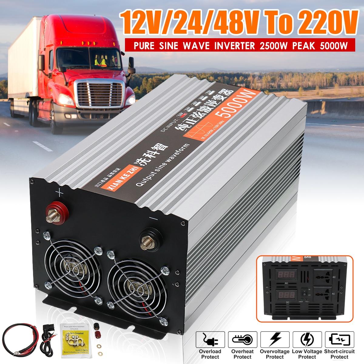 Инвертор 12V 220V 5000W мощность чистая синусоида солнечный инвертор Чистая синусоида Светодиодный дисплей 12/24/48/v DC до 220V AC конвертер