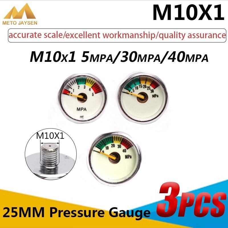 Manómetro M10x1 de 1 pulgada, manómetro de alta presión, 25mm, PCP, bomba de Paintball Airforce, válvula de buceo, manómetro 5mpa 30mpa 40mpa 3 unids/set