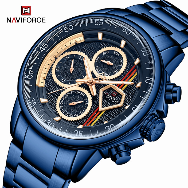 Marca de Luxo Relógio à Prova Relógio de Pulso Naviforce Relógios Masculinos Negócios Criativo Dwaterproof Água Aço Inoxidável Quartzo Relógio Masculino 2021