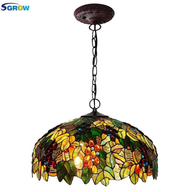 SGROW hecho a mano de vidrio pantalla lámparas para comedor dormitorio Art...