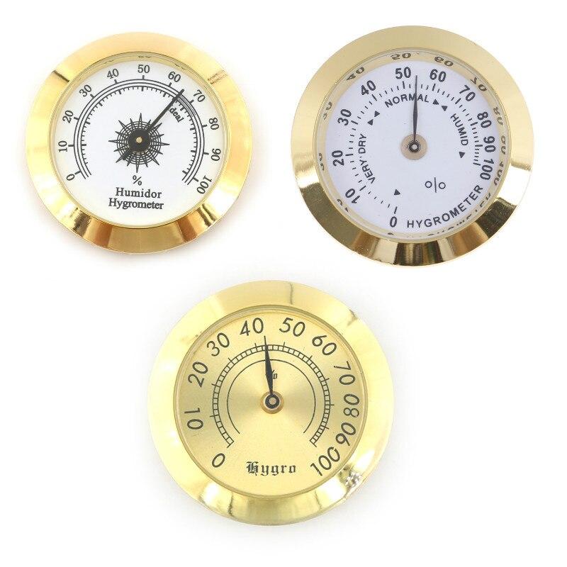 1pc redondo vidro analógico higrômetro para humidores ouro para guitarra violino charuto caixa de tabaco 50mm/37mm venda quente