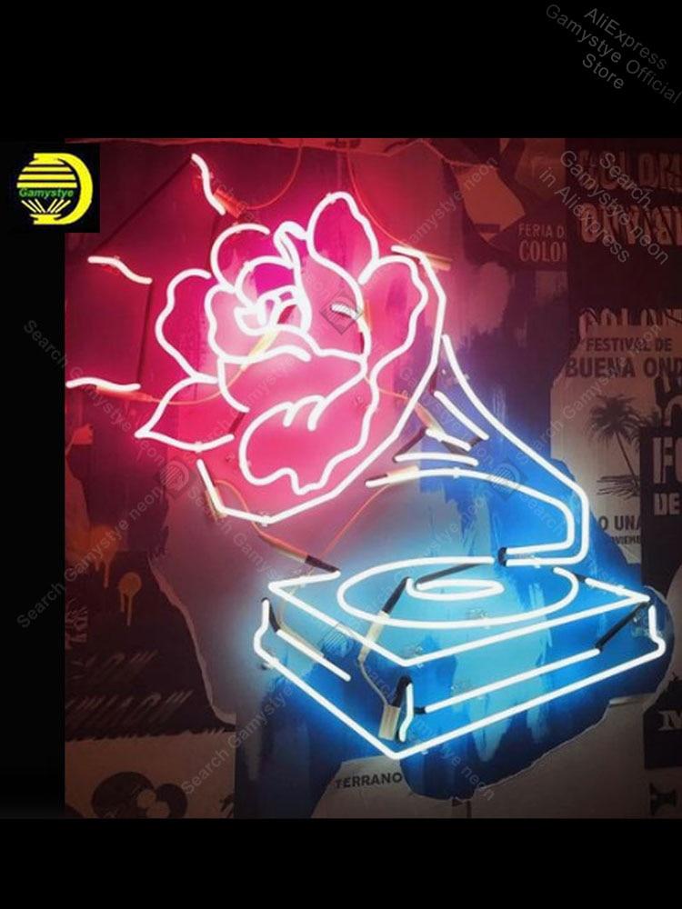 علامة نيون لأنبوب زجاجي موسيقي ، صناعة يدوية ، علامة إضاءة ، ديكور غرفة ، جدار ، لافتات ، متجر ، لافتات إضاءة نيون ، متجر