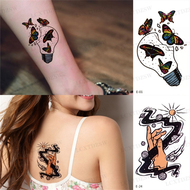 2Pcs Waterproof Temporary Tattoo For Women Butterfly Flash Tattoo Gesture Totem Sexy Fake Tattoos And Body Art Man Arm Leg Back