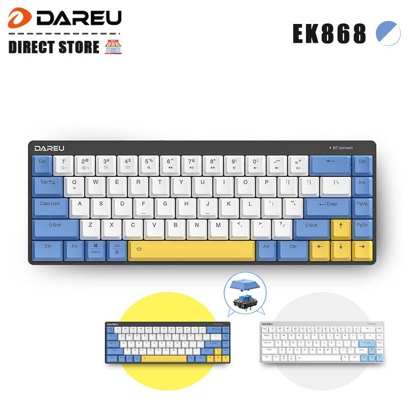 Низкопрофильная Механическая беспроводная клавиатура Dareu EK868, Bluetooth 5,1, сверхтонкие перезаряжаемые игровые клавиатуры для 3 устройств