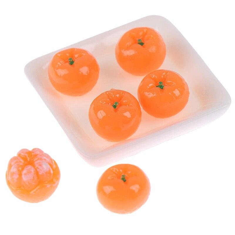 1 plato + 6 naranjas falsas 1/12 casa de muñecas accesorio de fruta en miniatura simulación bonito modelo juguete casa de muñecas Decoración