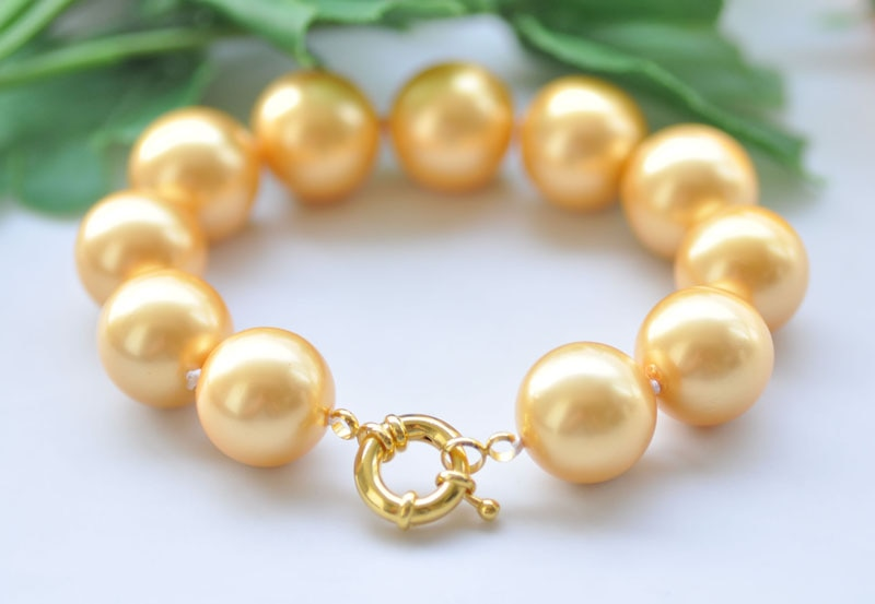 """P7192 8"""" Big 16mm Round Golden South Sea Shell Pearl Bracelet"""