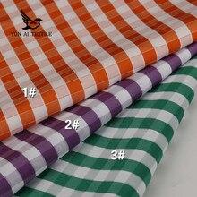 Nouvelle chemise multicolore en polyester et coton   Tissu teint par fils de haute qualité pour costume dhommes, impression personnalisée