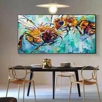 Peinture a lhuile sur toile de deux abeilles  affiches et imprimes  tableau dart mural pour decoration de salon et de maison