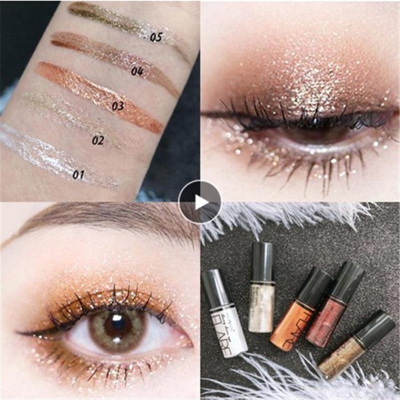 Sombra de ojos delineador de ojos brillante pluma cosméticos mujeres plata Rosa oro plata líquido Glitter cabeza cepillo suave TSLM1 brillante diamante nuevo