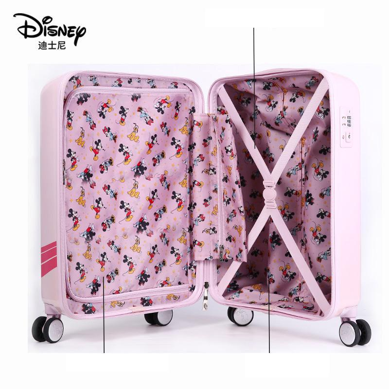 Authentic Disney Minnie Children's Luggage Can Be Mounted And Boarding Travel Trolley Case Cartoon Girl Cute 20 Inch Student