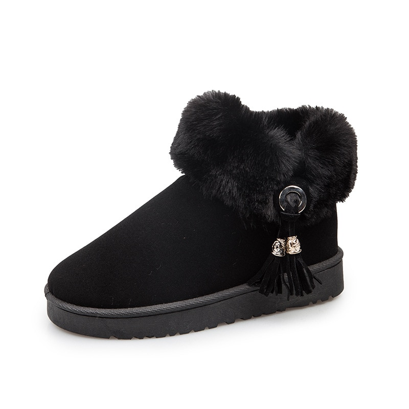 Botas de mujer de cuero de gamuza de plataforma de moda de invierno 2020 para mujer más zapatillas de deporte de borla planas cálidas de terciopelo botas de nieve zapatos de algodón