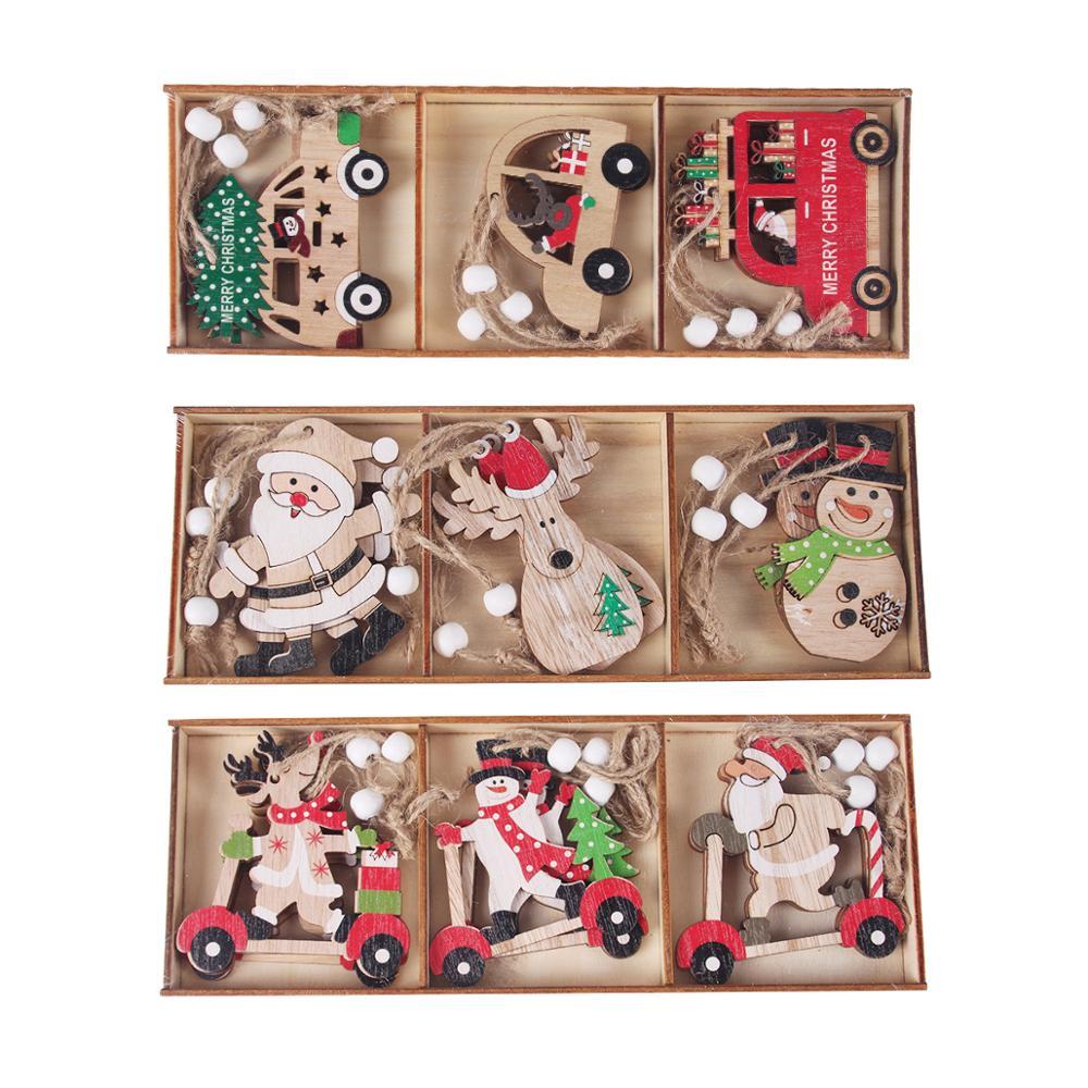 PATIMATE Natal De Madeira Pingente de Carro Feliz Decorações de Natal Para Casa 2020 Xmas Papai Noel Navidad Ornamento Cristmas