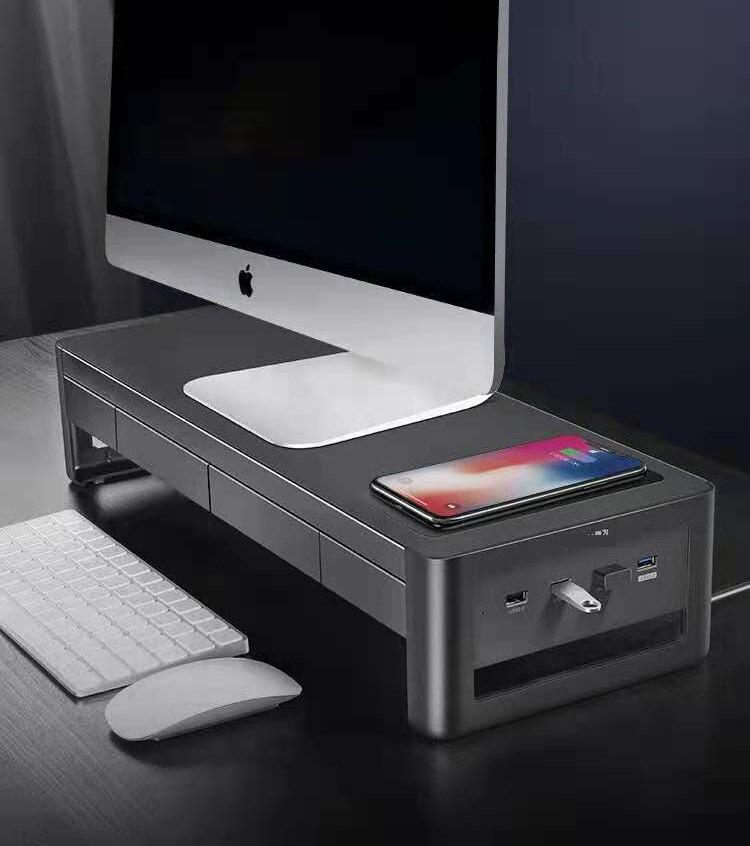 USB 3.0 محور حامل شاشة الألومنيوم الناهض شحن لاسلكي suport نقل البيانات حامل شاشة الكمبيوتر مع درج تخزين
