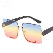 Rimless Sunglasses Square Fashion Popular Women Men Shades Small Grandient Sun Glasses For Female Vi