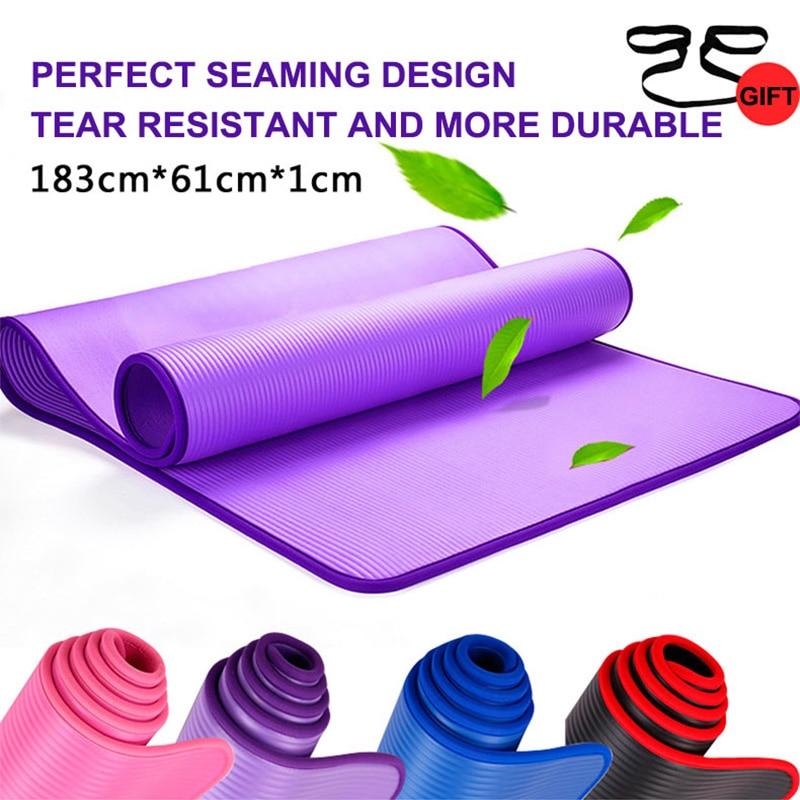 Esteras de Yoga Nrb de alta calidad de 183*61cm esteras de gimnasio resistentes a las rasgaduras para ejercicios deportivos almohadillas de Pilates sin tachuelas para Yoga bolsa y correa