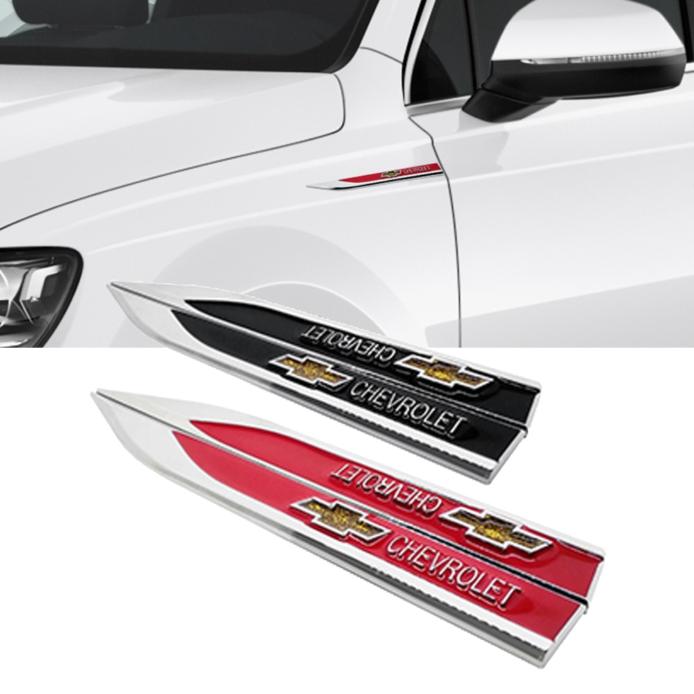 Para Chevrolet Cruze Aveo Captiva Lacetti Niva Orlando Epica Camaro chispa Trax pegatina lateral etiqueta emblema Fender placa Accesorios
