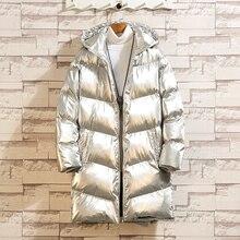 Yasuguoji novo 2019 moda brilhante prata inverno homem jaqueta grossa algodão acolchoado jaquetas e casacos com capuz quente longo parka