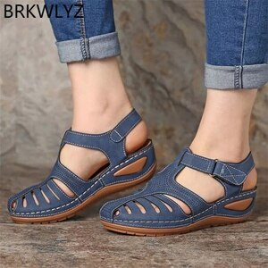 Women's Sandals Summer Ladies Girls Leather Vintage Sandals Buckle Casual Sewing Women Shoes Solid Female Ladies Platform Shoes