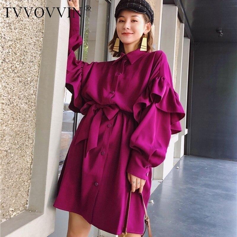 TVVOVVIN vestido para las mujeres lazo grande cintura manga larga Mini una línea vestidos de mujer de Otoño de 2020 Lolita estilo suelto Q727