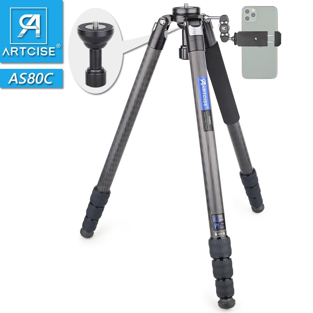 ترايبود من ألياف الكربون AS80C للكاميرا ، متين ، مستقر للغاية وخفيف الوزن ، احترافي ، محول وعاء السفر