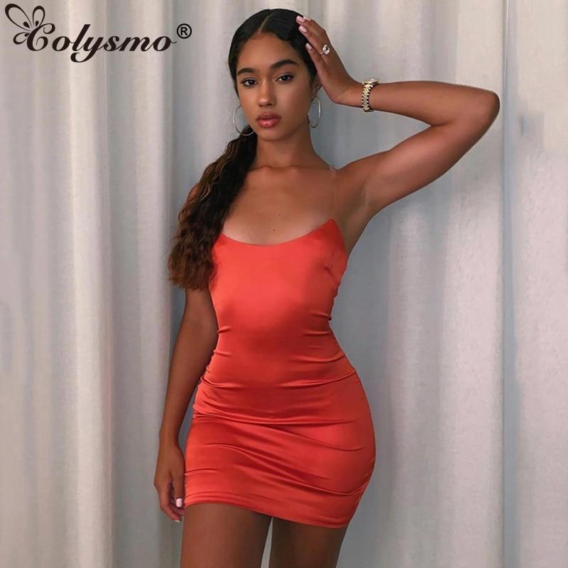 Colysmo 2 capas verano Sexy vestido mujeres claro espagueti correas espalda descubierta ceñido vestido de fiesta elegante rojo satén Mini vestido lápiz