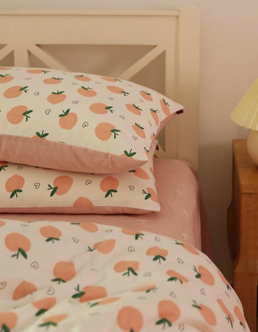 Juego de ropa de cama adorable de color rosa melocotón para adulto adolescente Niño, ropa de cama de algodón doble tendencia de Reina completa para el hogar textil, funda de almohada, funda de edredón
