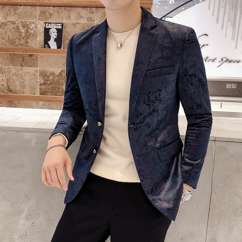 Elegante Blazer de negocios para hombre, chaqueta de fiesta informal de corte delgado para banquete, chaqueta de moda con dos botones para novio, traje de boda, abrigo para actuación de cantante