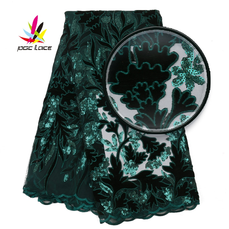Emerald Green Velvet Nigerian Lace Sequins French African Nigerian Latest Design High Quality Tulle 2020 For Wedding Dress
