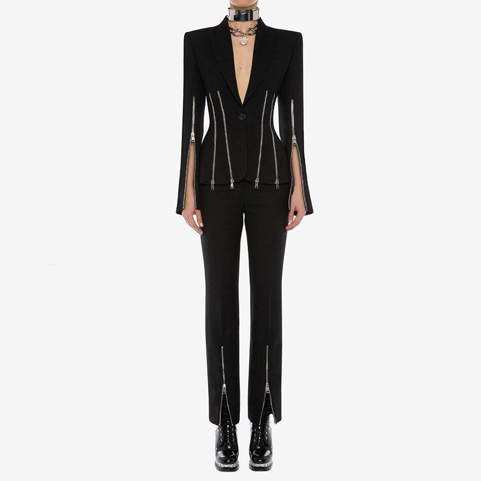 2019 invierno chaqueta negra femenina superior y pantalones conjuntos de dos piezas cremallera dividida manga larga cuello en V celebridad noche fiesta mujer abrigo traje