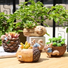 Squirrel Design Flower Pot Peanut Walnut Flowerpot Mini Bonsai Planter Pot Home Decorative Acorn Craft