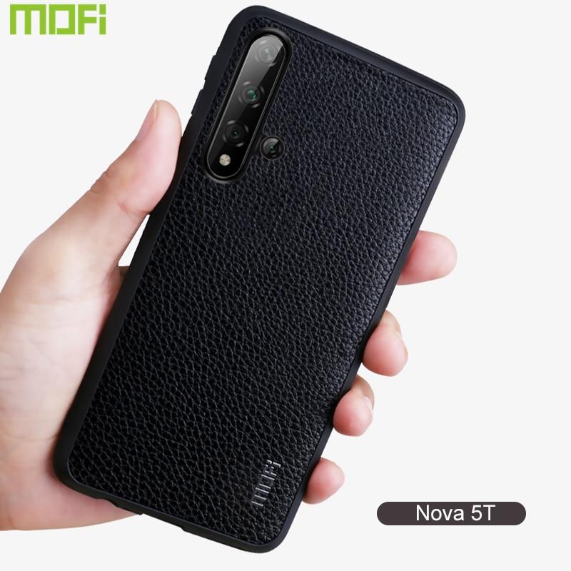 Funda Nova 5T para Huawei Nova 5T Funda cubierta trasera Protector guante Capa Funda Nova5T cuero grano negocios negro rojo